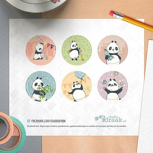 Sluitstickers Panda 6-set