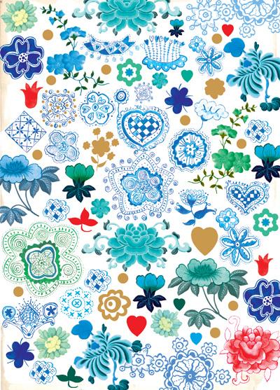 Wenskaart Popje - Flowers Blue