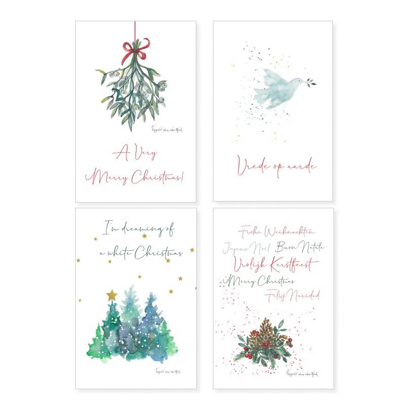 Kerstkaarten 4-set Postkaarten