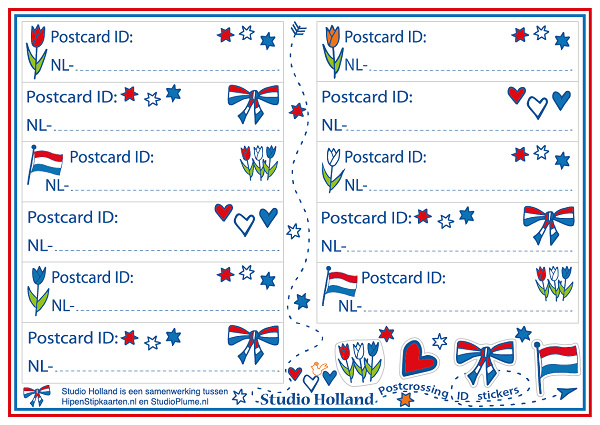 Postcrossing ID Stickers 15-set