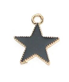 OND787 bedel geglazuurde black/gold Star 20.5x17.5mm. p.s.