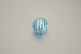 GK002 handgem. glaskraal zilver/bl.ringen 18mm.