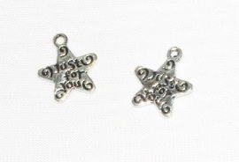 """BM063 ant. silver bedel """"Just for You"""" stervorm 14x12mm. p.s."""