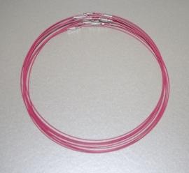 """OND164-roze gecoat stalen spang met zilverkl.draaisluiting :diameter 17.5""""  draaddikte 1mm."""