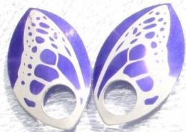 Aluminium vleugelschalen paars 35.8x22.2mm. per paar