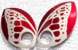 Aluminium vleugelschalen rood 35.8x22.2mm. per paar