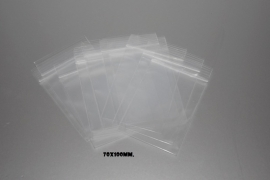 Gripzakjes transparant met ophangoog 70x100mm. 50 stuks