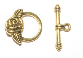 OND589 kapittel sluiting roos  tib. style gold 18x19mm. p.s.