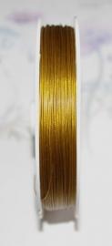 OND177-goudkleur gecoat staaldraad 0.45mm. 1,2,3,4 of 5 mtr.