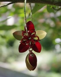 Insp.036 Schalen bloem oorbel in aluminium