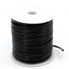 OND401 Zwart  synthetisch koord 3mm. rond hol, rijggat 0.9mm. per meter