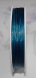 OND177-blauw gecoat staaldraad 0.45mm. 1,2,3,4 of 5 mtr.