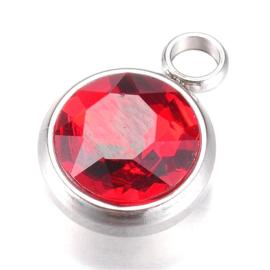 OND613 Hanger met rood glas cabochon facet geslepen 14x10x6.5mm.