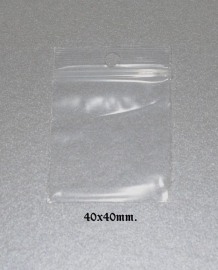 Gripzakjes transparant met ophangoog 40x40mm. 50 stuks