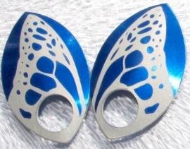 Aluminium vleugelschalen blauw 35.8x22.2mm. per paar