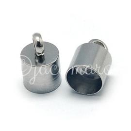 OND712 stainless steel koord eindkap 10x6.5mm. per 2 stuks