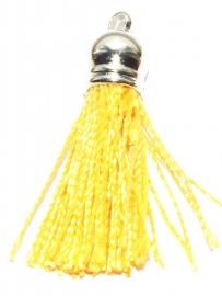BM115/ocher yellow  Terylene pendant kwastje 45x10mm.