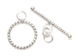 OND508  925 st.silver twisted kapittelsluiting 12.5mm. O.D.
