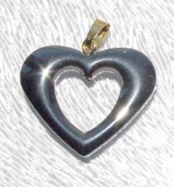 EK079  hematite pendant Open Heart incl. bail 26x20mm.
