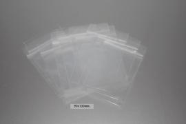 Gripzakjes transparant met ophangoog 80x120mm. 50 stuks