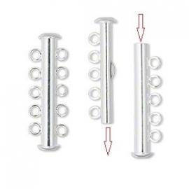 OND324 tube slide sluiting  5-rijen silver (niet magnetisch) 31x6mm.