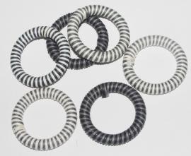 OND408grijsmix handgeweven waxkoord ring-connector 40mm. mixgrijs 5st.