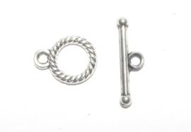 OND582 Kapittel sluiting  twisted tib. style ant. silver 12x9mm. 10 sets