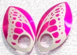 Aluminium vleugelschalen roze 35.8x22.2mm. per paar