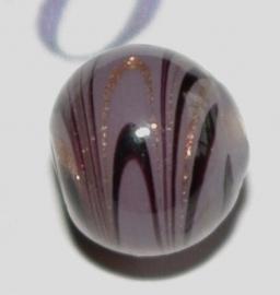 LW027 handgem. taupe lampwork glaskraal 10mm.