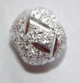 MK023 zilverkl. bewerkte kraal rond 8mm. (groot gat)