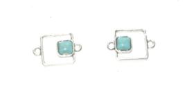 OND621 connector geometrisch vierkant blue turquoise  23x15mm.
