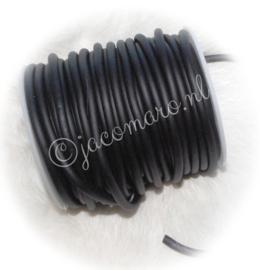 OND708 Zwart synth. rubber koord 3mm. rond  per meter (niet hol)