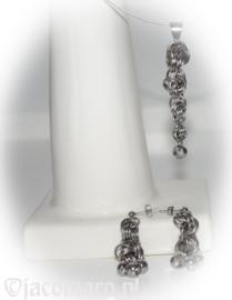 D.I.Y. Pakket 132 Spiraal of Choker met Hanger en Oorhangers in stainless steel