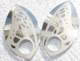 Aluminium vleugelschalen spiegelend zilver 35.8x22.2mm. per paar