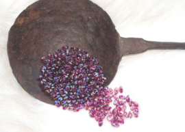 MML-2170 long drops 4x7x1mm. fuchsia lined smoky amethyst ab