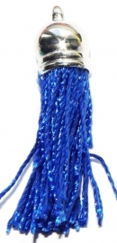 BM115/royal blue Terylene pendant kwastje 45x10mm.