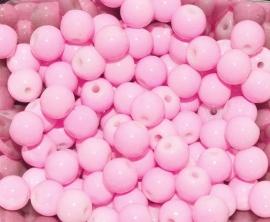 GK172  Glaskraal parelmoer roze gekleurd 6mm. 10st.
