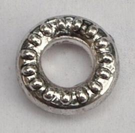 OND167 gesloten zilverkl. metallook sierringen-connectors 10x3mm. 6 stuks