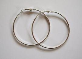 NIEUW: OND315 zilverkleurige oorringen/creolen 60mm. per paar
