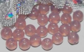 TGK051 boheems glas rond opaal grijs 6 mm. 10 stuks
