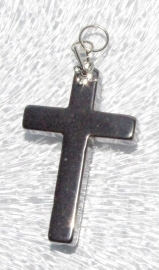 EK081  hematite pendant Long Cross incl. bail 34x22mm.