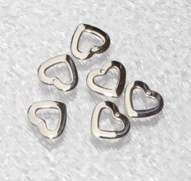 OND428 connector/hanger heart stainless steel 10.0x10.0x1.0mm. p.s. incl. ringetje