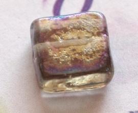GK041 l. bruine olie kraal vierkant 10x10 5 stuks