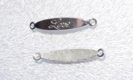 """OND485 connector/slider """"Love"""" zilverkleur 42.0x7.0x2.0mm. oogjes 2.5mm."""
