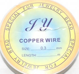 OND525 Silver color koper draad 0.3mm. 21mtr.