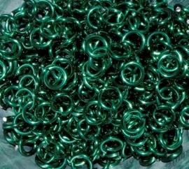 aluminium turquoise groen 0.8x4.2mm. (gezaagd)
