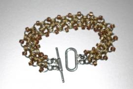 SA-021 Chainmail armband goud/zilver/bronskleurig 19cm.