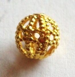 MK056 goudkl. filigrain kraal 5mm.