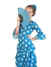 Spaanse jurk Deluxe blauw wit