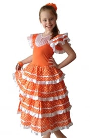 Flamenco Dress orange white